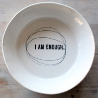 porcelain large dish modern screen printed text and graphics. IN STOCK