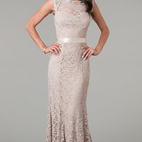 Sleeveless Floor Length Lace Dress