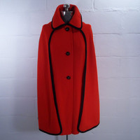 Red Wool Cape Coat Vintage 60s