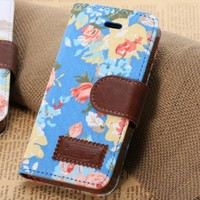 iphone 5 5S, iphone 5C Luxury Vintage Shabby Chic Cute Flowers Floral Designer Purse Pouch Wallet Case -Tpu leather Floral Blue