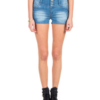 Four Button High Rise Denim Shorts - Light Blue