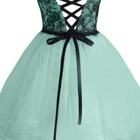Sunvary Black and Mint Short Cocktail Homecoming Dresses Pageant Gowns Evening