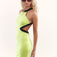 Yellow Halter Dress - Neon Halter Dress with Cutout | UsTrendy