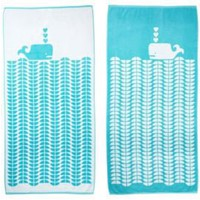 One Kings Lane - Beach Towels - Luzelle van der Westhuiz Whale, Aqua