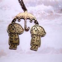 Raincoat Twins Under Umbrella Necklace  by FashionCrashJewelry