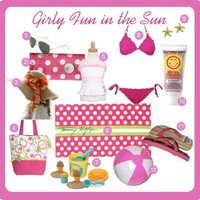 Girly Beachwear: Pink Bikinis and Polka Dots