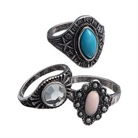 Mudd® Silver Tone Simulated Crystal Cabochon Ring Set