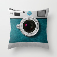 classic retro Blue teal silver Leica M9 Leather camera Throw Pillow by Three Second