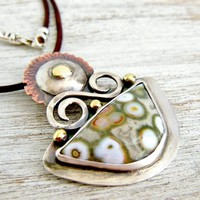 Ocean Jasper Artisan Pendant, Mixed Metal Copper and Silver | WestWindCreations - Jewelry on ArtFire