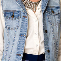 Lightly Faded Denim Vest