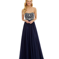 B. Darlin Strapless Beaded Ball Gown | Dillard's Mobile