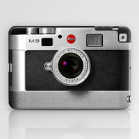 classic retro Black silver Leica M9 Leather camera iPhone 4 4s 5 5c, ipod, ipad case iPad Case by Three Second