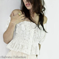 White Sheer Lace Off The Shoulder Peasant by SalvatoCollection