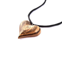 Wooden Heart Necklace, Wooden Heart Pendant, Wood Pendant, Wooden Heart, Wooden Pendant, Hand Carved Pendant, Wood Necklace, Valentine's Day