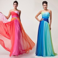 2014 New Lady Long Chiffon Bridesmaids Formal Ball Gown Evening Prom Party Dress
