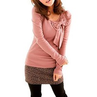 Allegra K Woman Bowknot Decor Round Neck Long Sleeves Shirt Top Pink XS