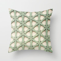 Jade Lattice Throw Pillow by CMcDonald