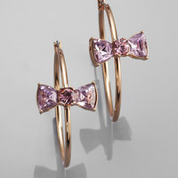 ideeli | BETSEY JOHNSON Hoop Earrings with Crystal Bow Tie
