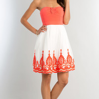 Short Strapless Dress with Lace Embellished Skirt