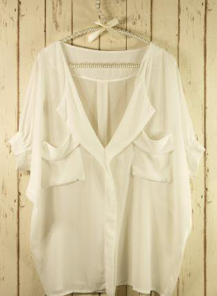 White Short Sleeve Top - White Oversized Top with Front | UsTrendy
