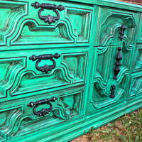Teal Blue Vintage Dresser  by AquaXpressions