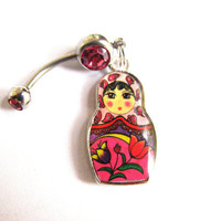 Russian Nesting Doll Belly Button Jewelry, Cute Pink Matryoshka Belly Ring Bellybutton Rings