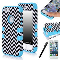 E-LV Apple iPhone 5S / 5 Dual Layer Hard and Soft Hybrid Armor Combo Case with 1 Screen Protector, 1 Stylus and 1 Microfiber Sticker Digital Cleaner (Zig-zag Blue, iPhone 5)