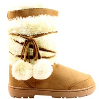 Womens Pom Pom Fully Fur Lined Waterp...