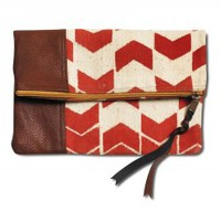 Orange Arrows Fold Over Clutch