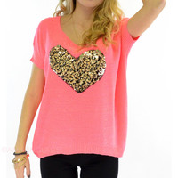 Wild Heart Neon Coral Sequin Knit Top