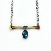 Real Bone Necklace with Victorian Blue Jewel by InkandRoses13