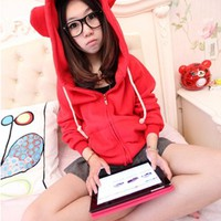 Promithi Womens Candy Color Loose Sweater Coat Bear Ears Cardigan Hooded Jacket (red)