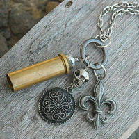 Bullet Casing Charm Necklace by InkandRoses13