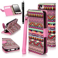 E-LV Deluxe Tribal print PU Leather Wallet Stand Case Cover for iPhone 5C with 1 Stylus and 1 Clear Screen Protector