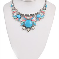 Short Statement Necklace with Stone Design