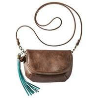 Mossimo Supply Co. Crossbody Handbag with Green Tassle - Brown