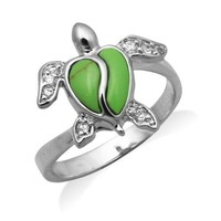 Sterling Silver Turtle Jewelry Ring with Green Turquoise Shell and CZs