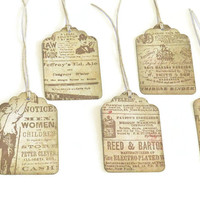 Vintage Inspired Tags - Vintage Ads - Ephemera - Newspaper Ads - 6 Pack