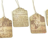 Handmade Tags - Vintage Inspired Gift Tags - Vintage Ads - Ephemera- Pack of 6
