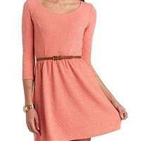 Jacquard Lace-Back Skater Dress