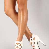 Qupid Confess-55 Caged Peep Toe Stiletto Pump