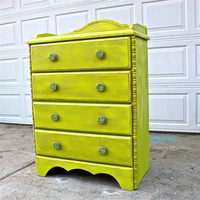 Lime Green Chest/ Brown Glaze /Decorative Knobs /Bedroom Furniture/ Dresser/ TV Stand/ Storage/ Distressed
