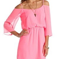 STRAPPY BACK COLD SHOULDER CHIFFON DRESS