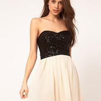 TFNC Dress with Sequin Bandeau &amp; Chiffon Skirt at ASOS