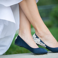 Wedding Flats - Navy Blue Wedding Shoes/Wedding Flats, Satin Flats with Ivory Lace. US Size 10