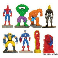 Marvel Super Hero Mini Figure Set - Set of 8 Vending Machine Toys - Spiderman, Ghost Rider, Thing, Hulk, Captain America
