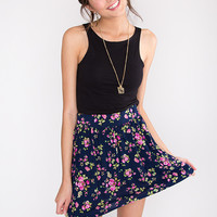 Pinch Me Floral Skirt - Navy