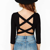 Double Cross Crop Top - Black