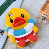 Lovely Cute Cartoon 3D Yellow Duck Soft Silicone Back Cases Covers for Apple iPhone 5 5G 5S Gift for Kids Boy Cheap