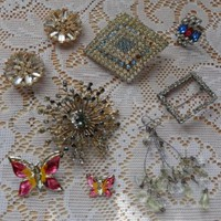 Vintage Lot Jewelry Repair Wear Junk Enamel Butterfly Earrings Ring Brooch